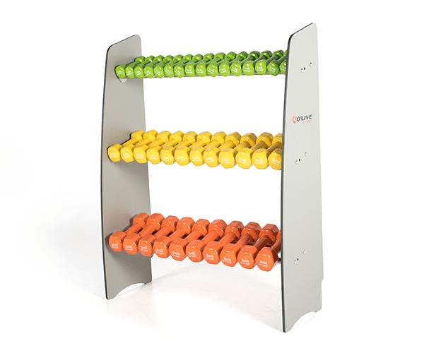 Olive HPL dumbbells rack contenido oomkt